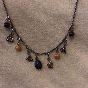 Villager Dark Silver Tone Bead Necklace
